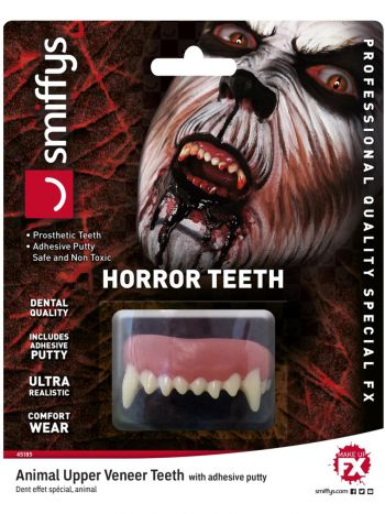 Smiffys Make-Up FX, Horror Teeth, Animal, White