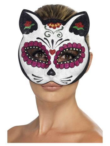 Sugar Skull Cat Glitter Eyemask, White