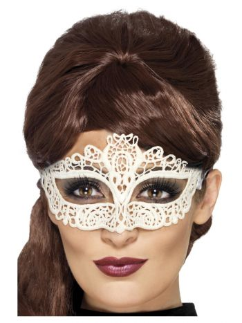 Embroidered Lace Filigree Eyemask, White