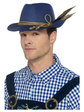 Authentic Bavarian Oktoberfest Hat, Blue
