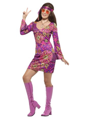 Hippie Chick Costume, Multi-Coloured