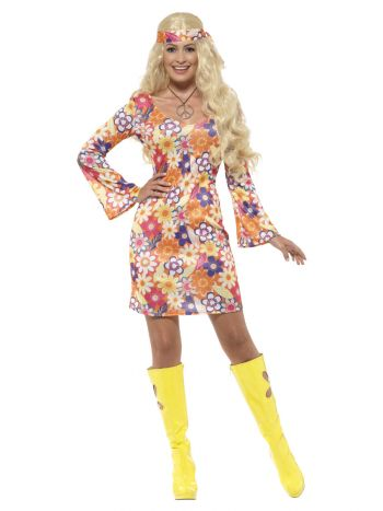 Flower Hippie Costume, Multi-Coloured