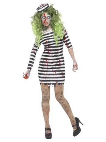 Zombie Jail Bird Costume, Black