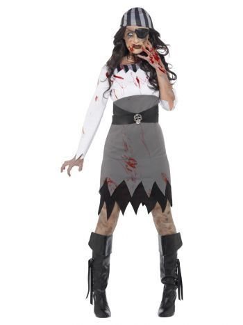 Zombie Pirate Lady Costume, Grey