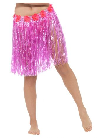 Hawaiian Hula Skirt with Flowers, Neon Pink