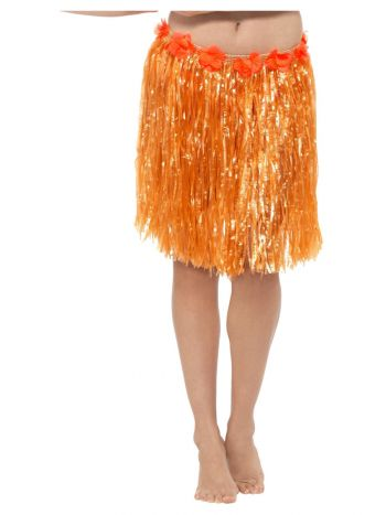 Hawaiian Hula Skirt with Flowers, Neon Orange
