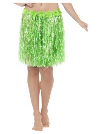 Hawaiian Hula Skirt with Flowers, Neon Green