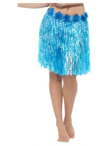 Hawaiian Hula Skirt with Flowers, Neon Blue