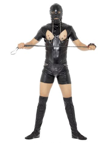 Bondage Gimp Costume with Bodysuit, Black