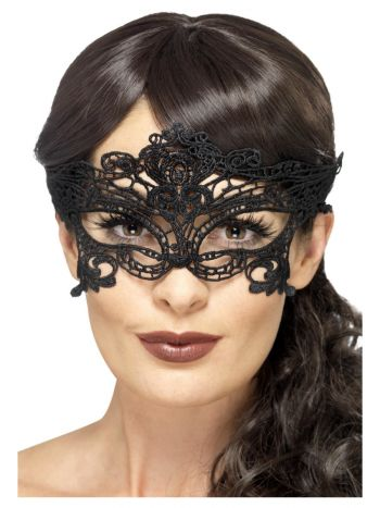 Embroidered Lace Filigree Heart Eyemask, Black