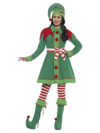 Deluxe Miss Elf Costume, Green