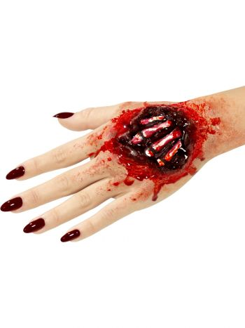 Smiffys Make-Up FX, Latex Exposed Hand, Red