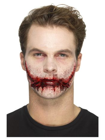 Smiffys Make-Up FX, Latex Stitched Smile Wounds, R