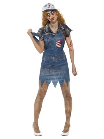 Zombie Hillbilly Costume, Female, Blue
