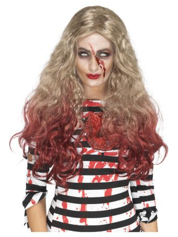 Deluxe Zombie Blood Drip Wig, Blonde & Red