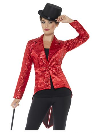 Sequin Tailcoat Jacket, Ladies, Red