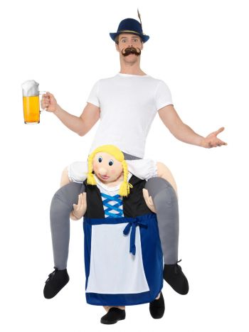 Piggyback Bavarian Beer Maiden Costume, Blue
