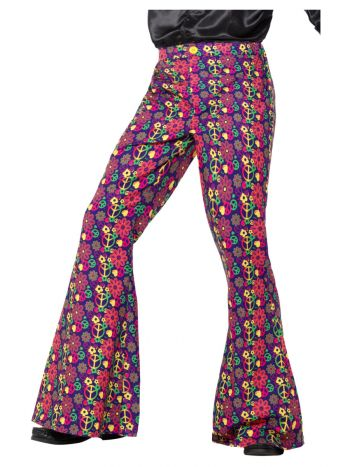 60s Psychedelic CND Flared Trousers, Mens, Multi-C