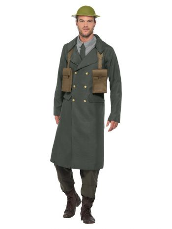 WW2 British Office Costume, with Trench Coat, Gree