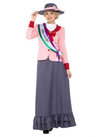 Deluxe Victorian Suffragette Costume, Grey & Pink