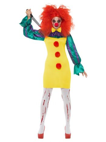 Classic Horror Clown Lady Costume, Multi-Coloured