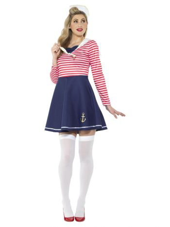 Sailor Lady Costume, Blue & White