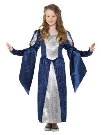 Medieval Maid Girl Costume, Blue