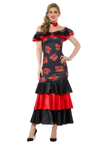 Flamenco Lady Costume, Black & Red