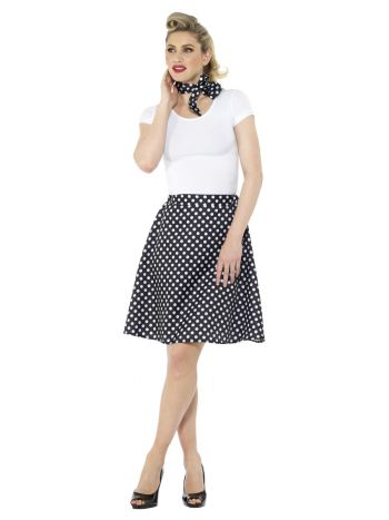 Adults 50s Polka Dot Skirt, Black