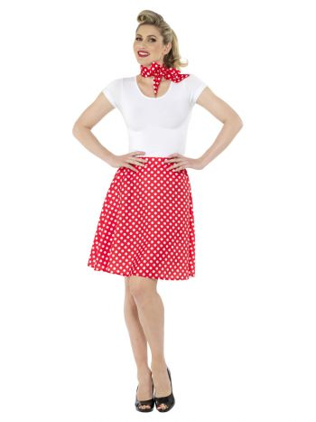 Adults 50s Polka Dot Skirt, Red