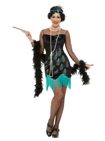 20s Peacock Flapper Costume, Green & Blue