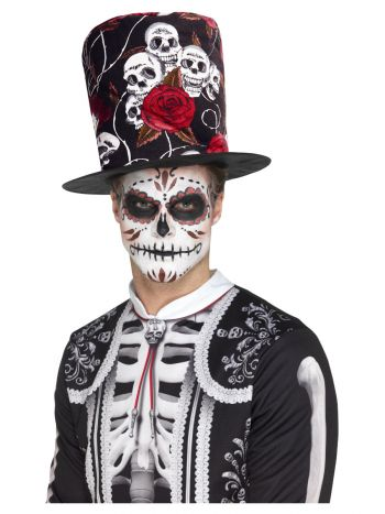 Day of the Dead Skull & Rose Top Hat, Multi-Colour