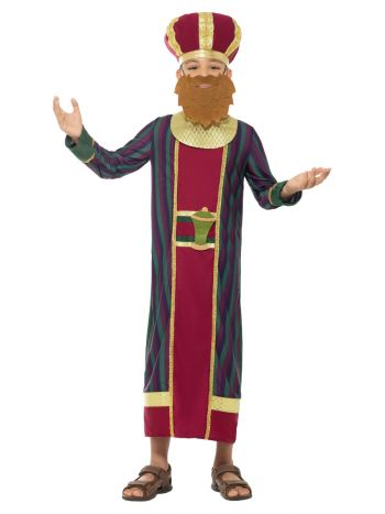King Balthazar Costume, with Robe, Multi-Coloured
