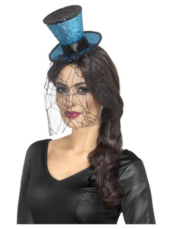 Mini Gothic Top Hat on Headband, Blue