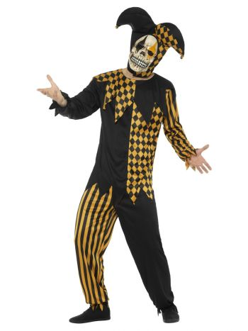 Evil Court Jester Costume, Black & Gold