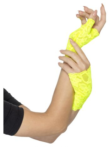 80s Fingerless Lace Gloves, Neon Yellow