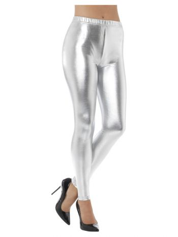 80s Metallic Disco Leggings, Silver