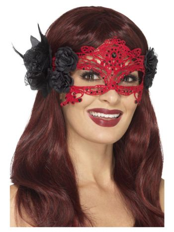 Embroidered Lace Filigree Devil Eyemask, Red & Bla