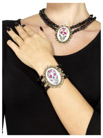 Day of the Dead Beaded Bracelet, Black