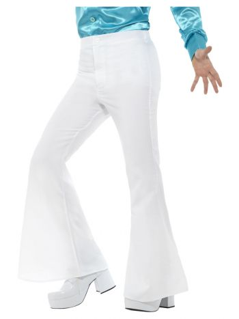 Flared Trousers, Mens, White