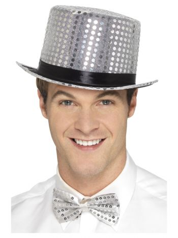 Sequin Top Hat, Silver
