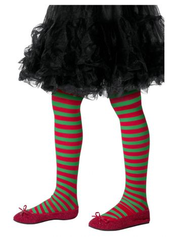Striped Tights, Childs, Red & Green
