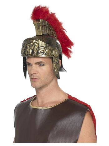 Roman Spartan Helmet, Gold & Red
