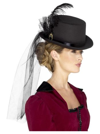 Deluxe Ladies Victorian Top Hat, with Elastic, Bla