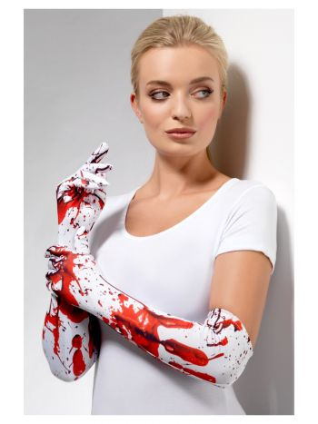 Blood Splatter Gloves, White & Red