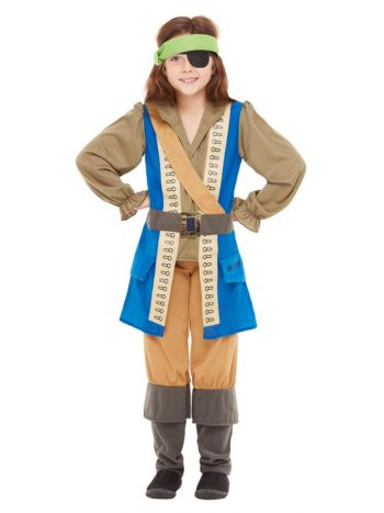 Horrible Histories Pirate Captain Costume, Blue