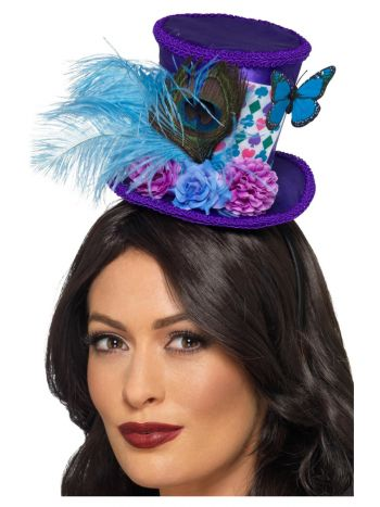 Mad Hatter Mini Feather Hat, Purple