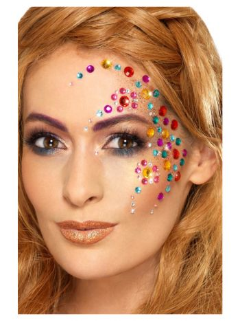 Smiffys Make-Up FX, Rainbow Jewel Face Gems, Multi