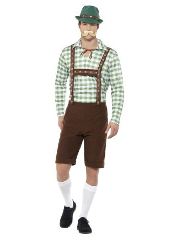 Alpine Bavarian Costume, Green & Brown