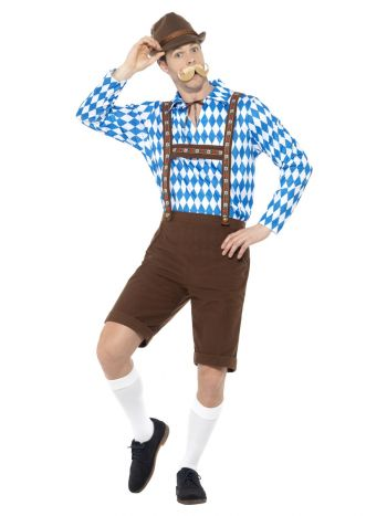 Bavarian Beer Man Costume, Blue & Brown